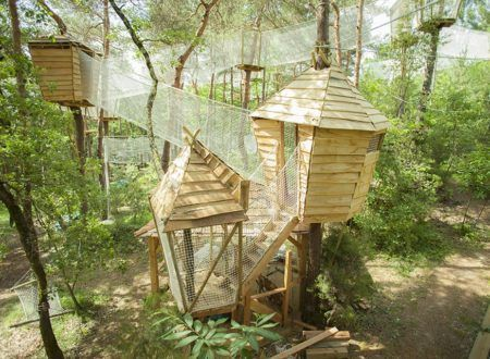 The Bois des Musiciens - Net trail in the air and musical huts